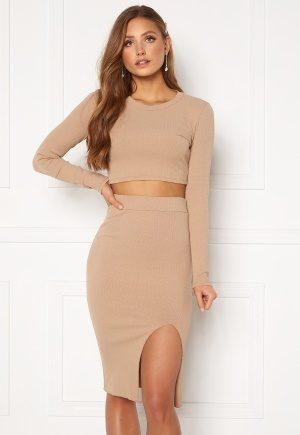 Bohemian Lounge Rib Crop Top Skirt Set Mocha XL (UK16)