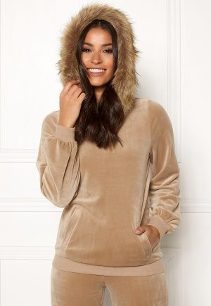 Happy Holly Kaylee short fur hoody Light mole 40/42