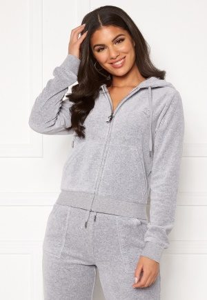 Juicy Couture Robertson Classic Velour Hoodie Light Grey Marl M