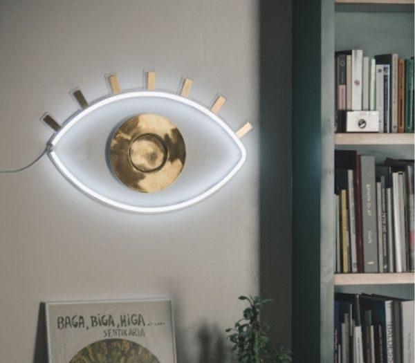 Oculus lampe i guld og hvid