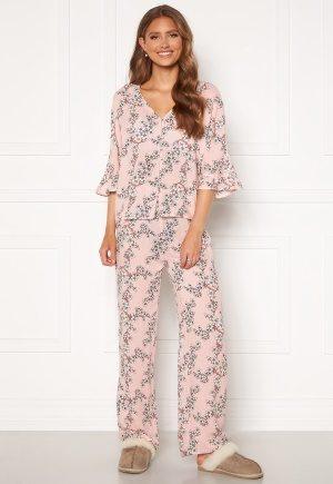 Trendyol Flower Printed Pyjama Set Pudra/Powder Pink 34